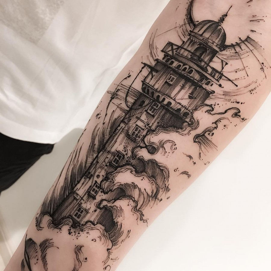 lighthouse sketch style tattoo by victor montaghini