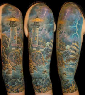 Lighthouse tattoo by James Tattooart