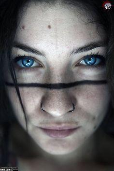 Line face tattoo