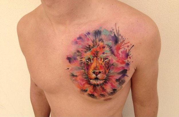 Lion Watercolor tattoo