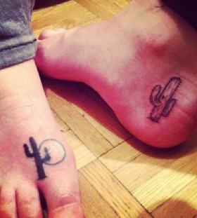 Little cactus foot tattoos