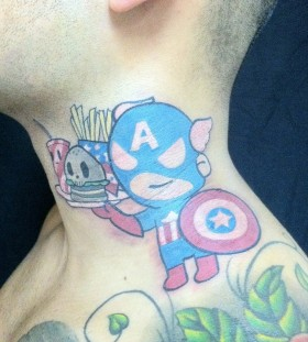 Little captain america neck tattoo