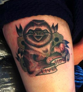 Live slow sloth tattoo