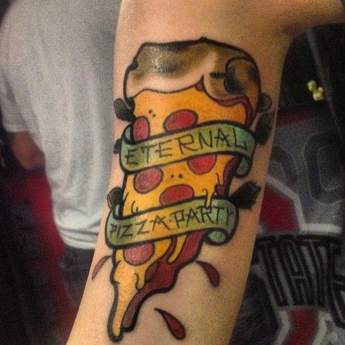 Looking delicous pizza tattoo