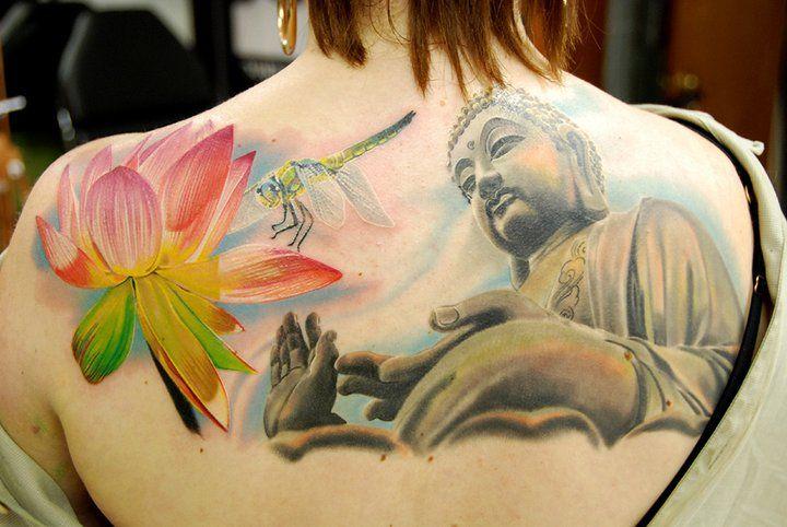 Lotus and Buddha tattoo by Phil Garcia