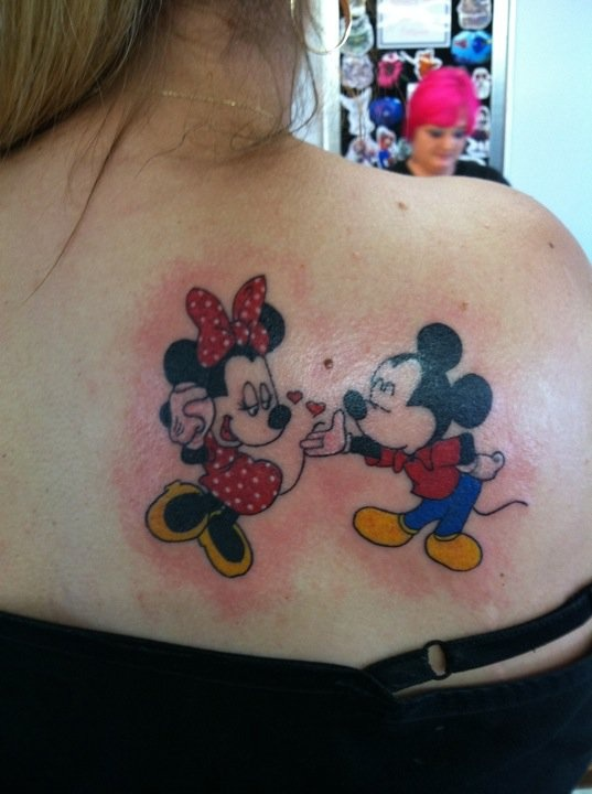 Lovely Minnie and Mickey back tattoo