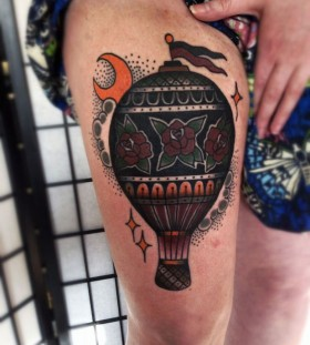 Lovely air balloon tattoo by Matt Cooley