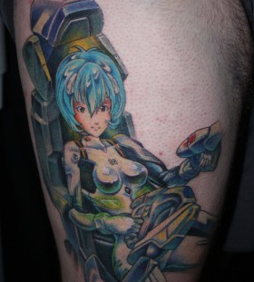 Lovely blue hair anime tattoo
