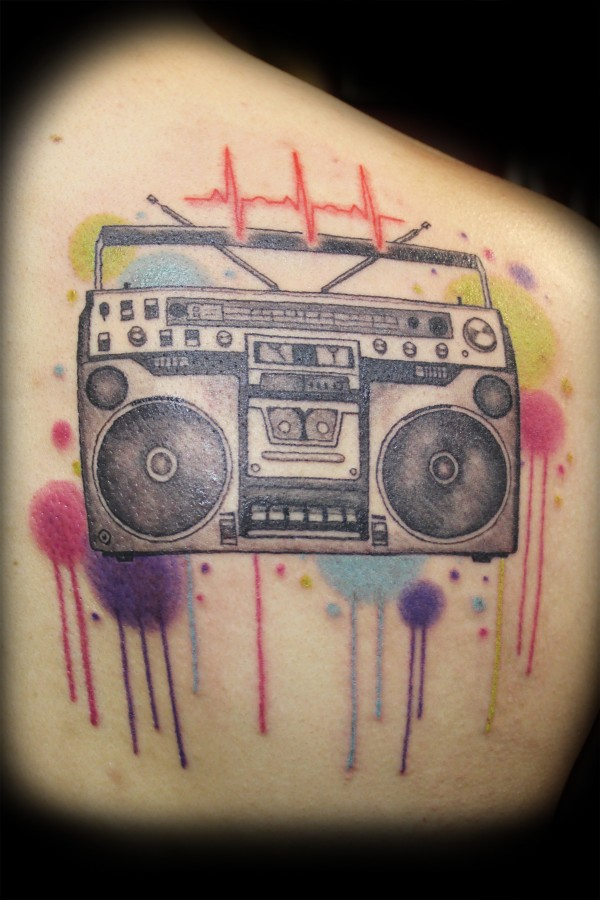 Lovely boombox back tattoo