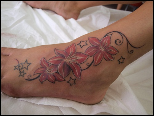 Lovely coloured flower ankle tattoo