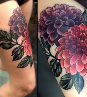 Lovely dahlias leg tattoo