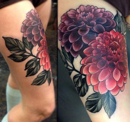 Lovely dahlias leg tattoo