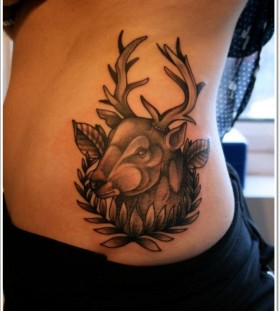 Lovely deer side tattoo
