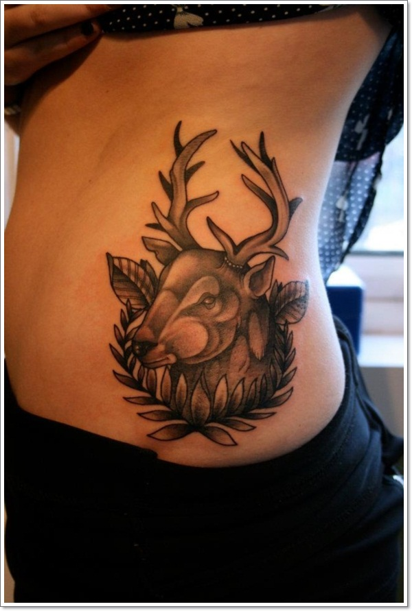 Lovely deer side tattoo