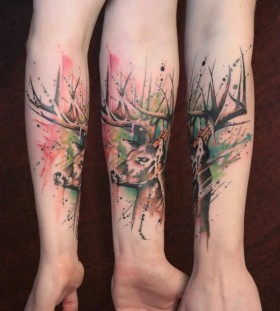 Lovely design deer arm tattoo