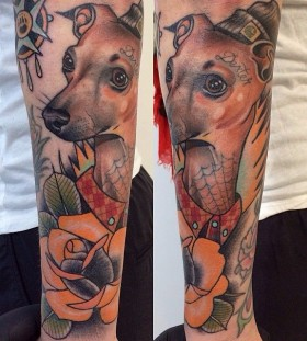 Lovely dog tattoo by Alex Dorfler