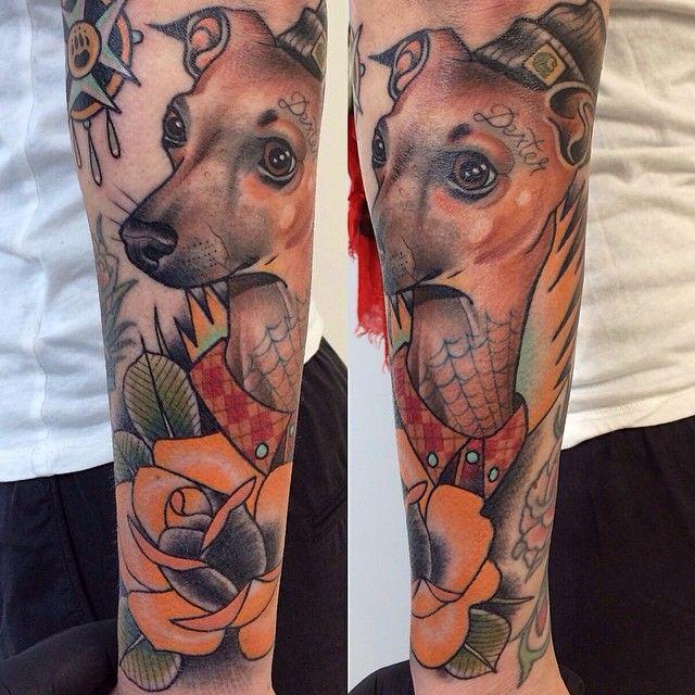 Lovely dog tattoo by Alex Dorfler