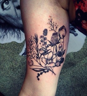 Lovely floral tattoo by Rebecca Vincent