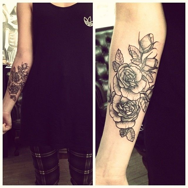 Lovely flowers tattoo by Rebecca Vincent