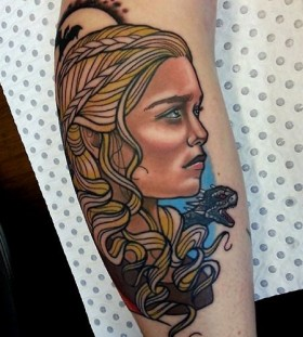Lovely girl tattoo by Drew Shallis