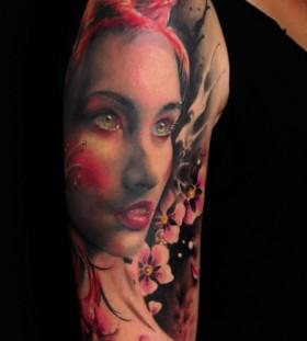 Lovely girl tattoo by Florian Karg