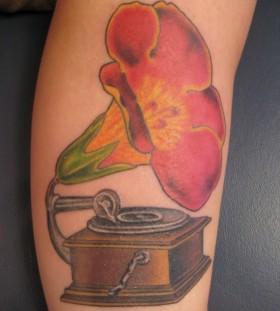 Lovely gramophone flower tattoo