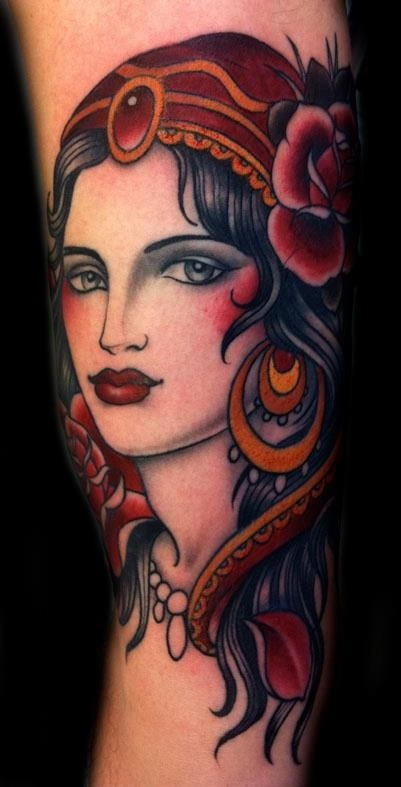 Lovely gypsy tattoo by W. T. Norbert