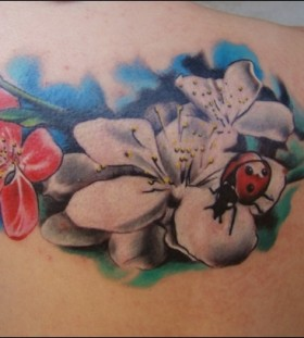 Lovely ladybug and flowers tattoo