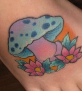 Lovely mushroom foot tattoo