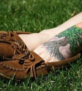 Lovely oak tree foot tattoo