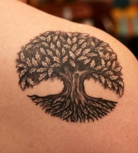 Lovely oak tree tattoo
