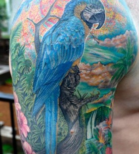 Lovely parrot arm tattoo