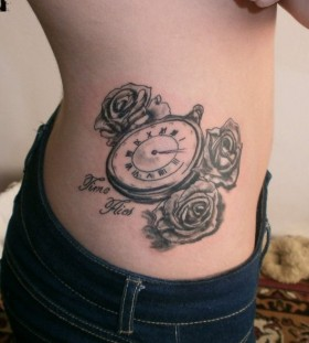 Lovely pocket watch side tattoo