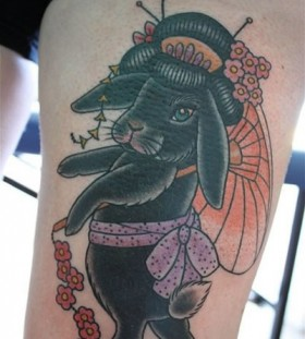 Lovely rabbit tattoo by Clare Hampshire