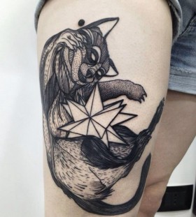 Lovely raccoon tattoo by Michele Zingales