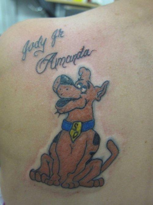 Lovely scooby doo back tattoo