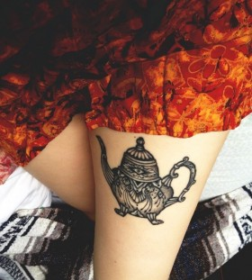 Lovely teapot leg tattoo