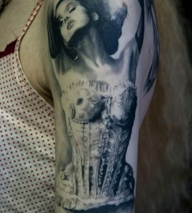 Lovely woman tattoo by David Allen
