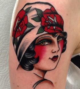 Lovely woman tattoo by Nick Oaks