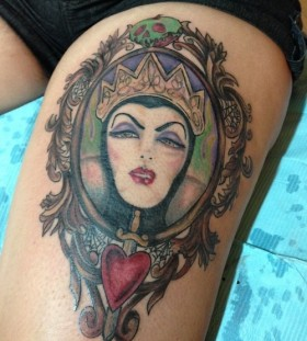 Maleficient frame leg tattoo