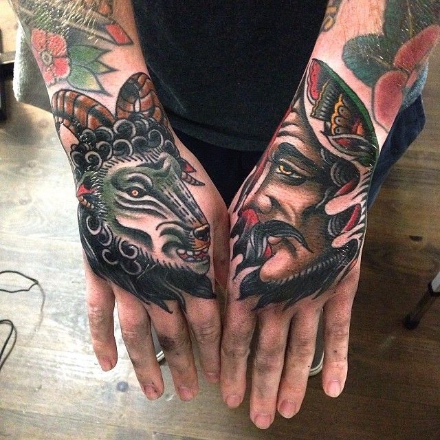Man and goat hand tattoos by James McKenna