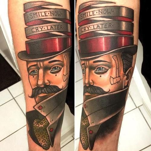 Man and quote tattoo by Alex Dorfler
