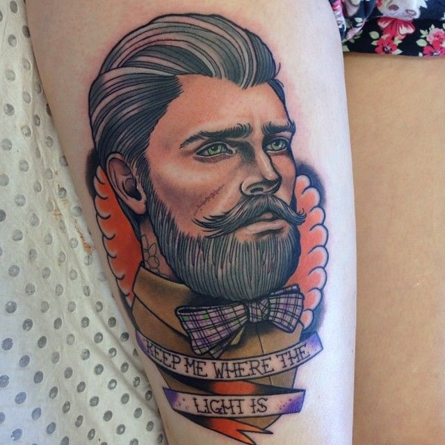 Man and quote tattoo by Drew Shallis