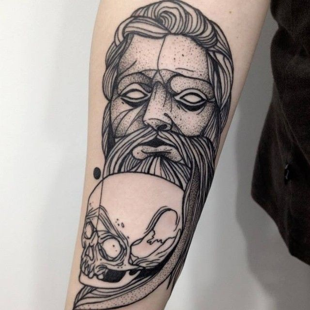 Man and skull tattoo by Michele Zingales