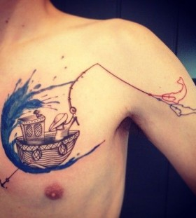 Man fishing on a boat tattoo