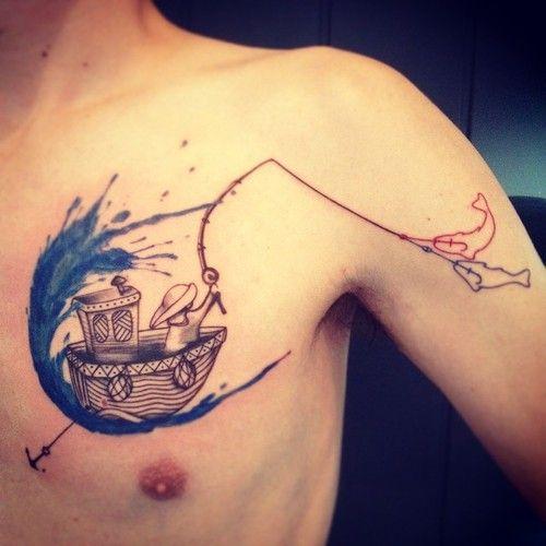 Man fishing on a boat tattoo