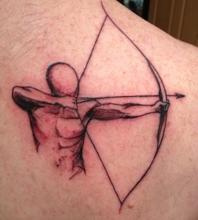 Man with bow and arrow tattoo