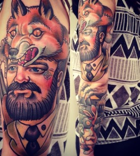Man with fox head tattoo by Alex Dorfler