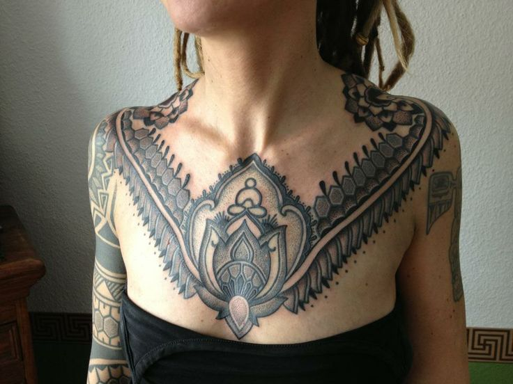 Mandala chest tattoo by Gerhard Wiesbeck
