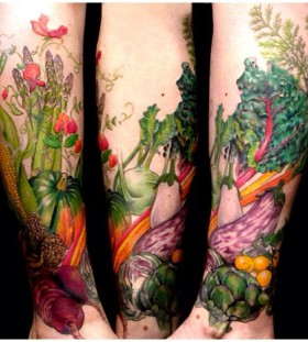 Many vegetables tattoo by Esther Garcia